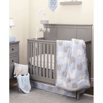 Blue Elephant 4-Piece Crib Bedding Set