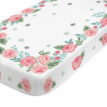 NoJo Aztec Mix & Match 100% Cotton Roses Photo Op Crib Sheet, Pink, Green, Aqua, White