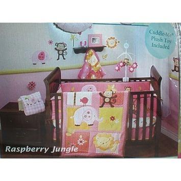 NoJo Little Bedding Crib Set: Raspberry Jungle