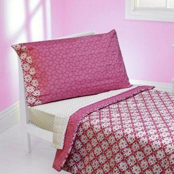 Kaleidoscope Pink Flowers Toddler Bedding Comforter Sheets