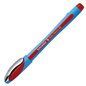 Schneider Slider Memo XB Ballpoint Pens, Extra Bold Point, 1.4mm, Red/Blue Barrel, Red Ink, Pack Of 10