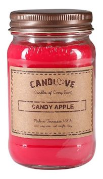 Candlove Candy Apple Scented 16oz Mason Jar Candle 100% Soy Made In The USA