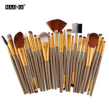 Makeup Brushes,lotus.flower 25PCs Makeup Brush Set Premium Synthetic Foundation Blending Face Powder Blush Concealers Eye Shadows Gold Make Up Brushes Kit