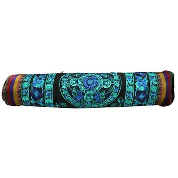 Hand Embroidered Bokhara Yoga Mat Bag Black/Turquoise