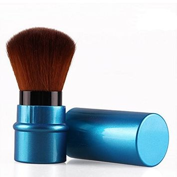 TOOGOO(R)Retractable Blush Foundation Face Powder Cosmetic Makeup Brush dark blue