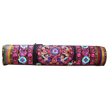 Hand Embroidered Bokhara Yoga Mat Bag Fuchsia/Lilac