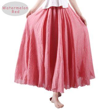 Nlife Women Bohemian High Waist Flowy Double Layer Maxi Skirt