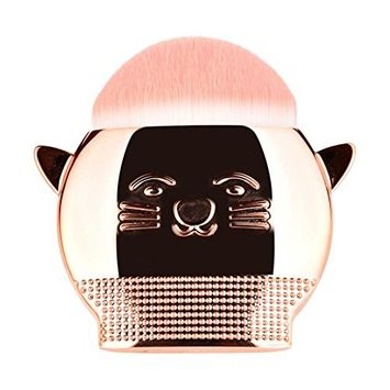 Makeup Brushes,lotus.flower 1 Pcs Cute Cat Makeup Brush Set Premium Synthetic Foundation Face Powder Blush Concealers Make Up Brush (Rose G