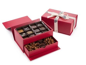The Nuttery Ny The Nuttery Duo Gift Box. Treasure Box- Fine Chocolate Truffles and Sweet Nuts Gift Box
