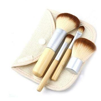 Makeup Brushes,lotus.flower 4PCs Makeup Brush Set Premium Synthetic Foundation Brush Blending Face Powder Blush Eye Shadows Make Up Brush+Make Up Brush Bag