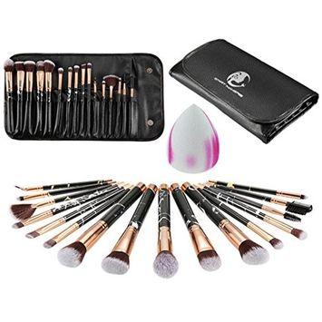 Lotus.Flower 16Pcs Marbles Lines Make-up Brush and Bag Puff Suit Multipurpose Make-up Tool