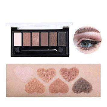 Bonniestore Eyeshadow Palette 6 Colors Nude Glitter Eye Shadow Powder Pigmennt Natural Bronze Neutral Smoky Make Up Waterproof Cosmetics Set