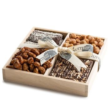 The Nuttery Ny The Nuttery Nuts and Chocolate Gift Basket-Nuts and Chocolate Mix- Wooden Tray Sectional-Kosher Chocolate Gift Platter