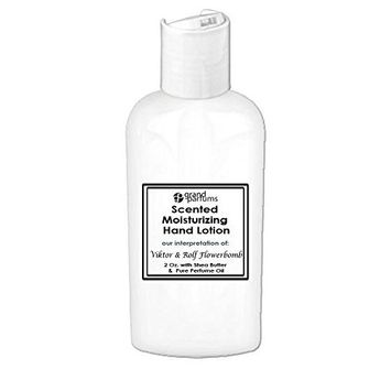 Grand Parfums 2 Oz Moisturizing Hand Lotion with Shea Butter (Viktor & Rolf Flowerbomb) Scented Hand Cream Spa Product, Travel Size Paraben Free