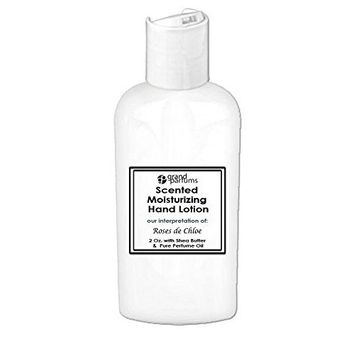 Grand Parfums 2 Oz Moisturizing Hand Lotion with Shea Butter (Roses de Chloe) Scented Hand Cream Spa Product, Travel Size Paraben Free