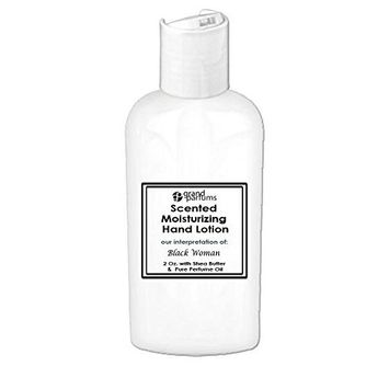 Grand Parfums 2 Oz Moisturizing Hand Lotion with Shea Butter (Black Woman) Scented Hand Cream Spa Product, Travel Size Paraben Free