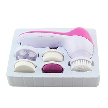 Pevor 5 In 1 Multi-Function Deep Clean Electric Facial Cleaner Face Spa Skin Care Brush Massager Scrubber with Soft Brush, Rolling Massager, Makeup Sponge Rotate 360 Degrees