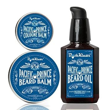 Pacific Prince Beard Oil Conditioner, Beard Balm & Solid Cologne Set Midnight Ocean Breeze Scent Gift Set Bundle Beard Care Kit Bearded Man Gift - Holiday Christmas Bearded Special Deal