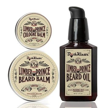 Lumber Prince Beard Oil Conditioner, Beard Balm & Solid Cologne Set Manly Lumberjack Woodsy Musk Gift Set Bundle Beard Care Bundle Bearded Man Gift - Holiday Christmas Bearded Special Deal Sale