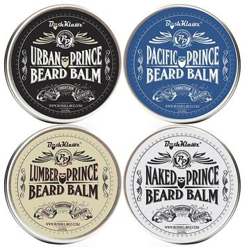 Premium Prince Beard Balms Variety Set Pack Bundle of Full size 2 oz Lumber Pacific and Urban Prince Scents and Naked Prince Scent Fragrance Free Gift Set Bundle Kit
