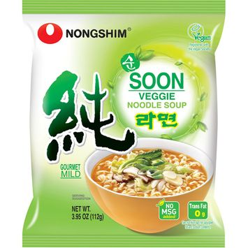 Nongshim Soon Veggie Gourmet Mild Noodle Soup, 3.95 oz, (Pack of 10)