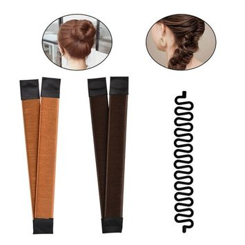TIMESETL 2pcs Hair Bun Maker (Brown/Blonde) + 1pcs Fashion French Hair Braiding Tool Magic DIY Hair Twist Styling (Black)
