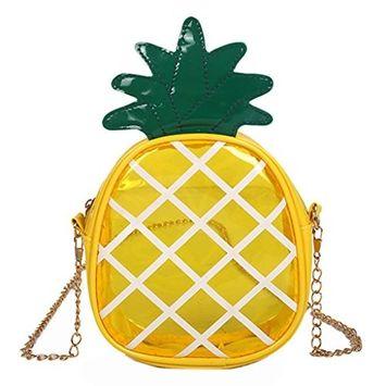 EA-STONE Cute Strawberry/Pineapple Bag For Girls Shoulder Bag,Transparent Tote Bag Shoulder Bag For Clutch Purse Beach Shopping (Pineapple)