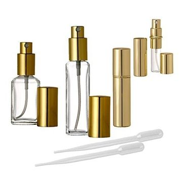 Grand Parfums Gold Perfume Atomizer Collection, 1/3 Oz, 1/2 Oz and 1 Oz Fine Mist Spray Bottles for Purse and Vanity (3 Sets (3 of Each Style))