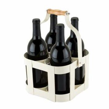 Portable Bottle Carrier, 4 Bottle Travel Rustic Vintage Tote Bottles Carrier
