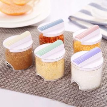 5Pcs Stackable Seasoning Tanks Set Food Grade PP Kitchen Seasoning Boxes