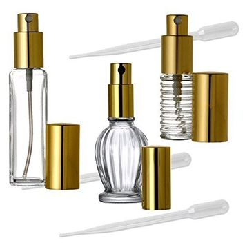 3 Glass Fine Mist Perfume Atomizer Bottles w/Gold Spray Caps, 7.5ml, 16ml, 30ml, 1/4 Oz, 1/2 Oz & 1 Oz w/3 Transfer Pipettes