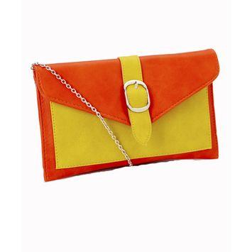 Amtal Women Two Color Belt Buckle Design Envelope Style Party Clutch