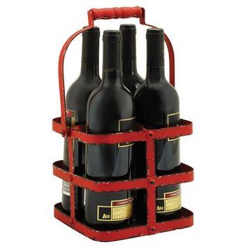 Rustic Bottle Carrier, Wood Handle Big Red Metal 4 Wine Bottle Holder Carrier