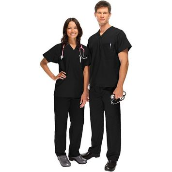 Safety Weave™ Antimicrobial Basics By Afs Unisex Scrub Set Small Black