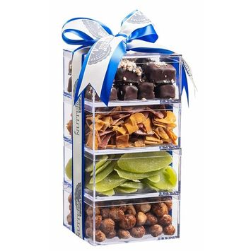 The Nuttery Premium Dried Fruit Gourmet Holiday Gift Tower- Pineapple ~ Tropical Mix ~ Peanuts ~ Caramel Squares ~Chanukah Gift Set