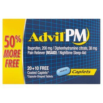 Advil PM (30 Count) Pain Reliever / Nighttime Sleep Aid Caplet, 200mg Ibuprofen, 38mg Diphenhydramine