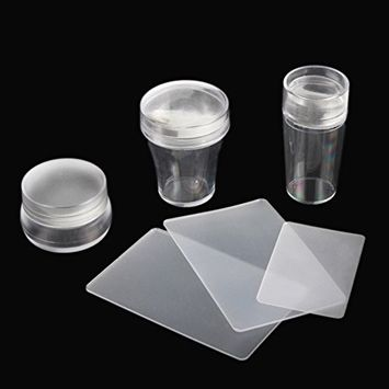 BTArtbox 3 Pcs Nail Clear Stamper Plate and Scrapers Set DIY Polish Print Template Manicure Accessories(Large1.66''/Medium1.38''/Small1.1'')