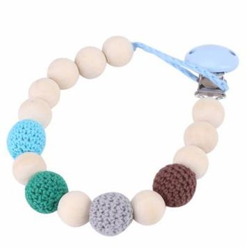 Pacifier Clip Chain,Infant Pacifier Holder Crochet Wooden Beads Chain Safe Eco-friendly Teething Pacifier Holder(blue)