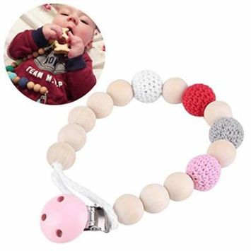 Pacifier Clip Chain,Infant Pacifier Holder Crochet Wooden Beads Chain Safe Eco-friendly Teething Pacifier Holder(pink)