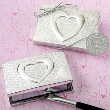 80 Heart themed shiny silver compact mirror