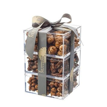 Gift Tower of Freshly Glazed Nuts:Macadamia, Pecans and Peanuts