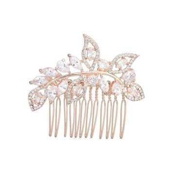 Rose Gold Crystal and Rhinestone Bridal Hair Comb for Wedding Veil Accessories (rose g