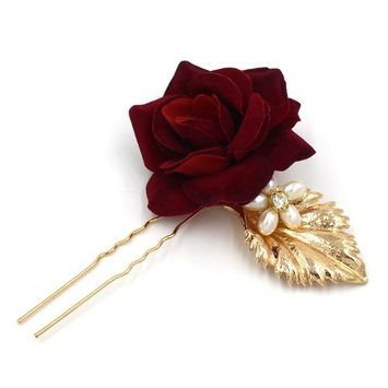 Hairpin Cloth Red Rose Flower Gold Leaf Hair Pin Bride Accessories Wedding Party for Women