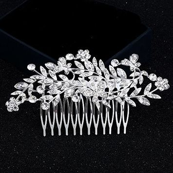Urberry Vintage Pearl Crystal Bridal Hair Accessories Rose Gold Hair Comb for Brides Wedding