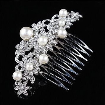 Urberry Bridal Hair Comb with Hand Painted Leaves, Pave Crystal & Pearls