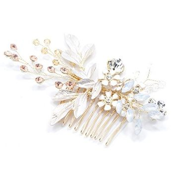 Urberry Rose Gold Designer Bridal Hair Comb with Hand Painted Leaves, Pave Crystal & Pearls