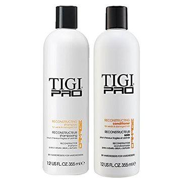 TIGI Pro Reconstructing Shampoo and Conditioner for Damaged Dry Weak Hair Combo Bundle (1 Shampoo / 1 Conditioner)