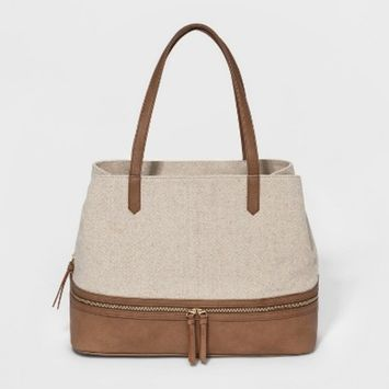 VR by Violet Ray Mixed Canvas Triple Entry Tote Handbag - Natural