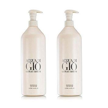 Acqua Di Gio Shower Gel for Men Giorgio Armani (PACK OF 2) (2 X 33.8 oz / 1 Liter)