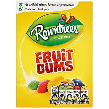 Rowntrees Fruit Gums Carton 125g Pack of 9